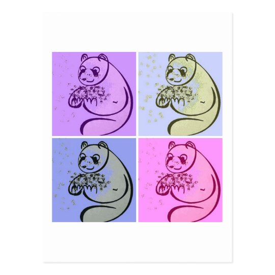 Panda Bears Pop Art Postcard