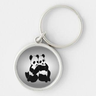 Panda Bears Silver-Colored Round Key Ring