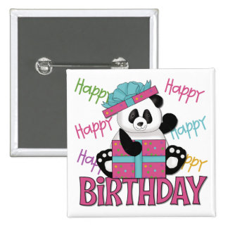 Panda Birthday 15 Cm Square Badge