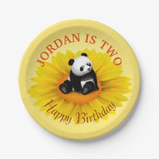 Panda Bon Bon with Flower Party Paper Plate