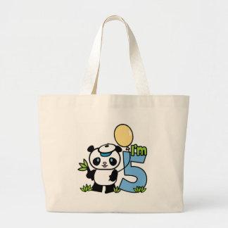Panda Boy 5th Birthday Jumbo Tote Bag