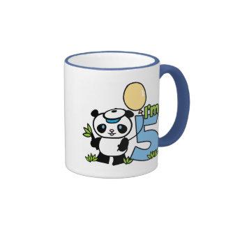 Panda Boy 5th Birthday Ringer Mug