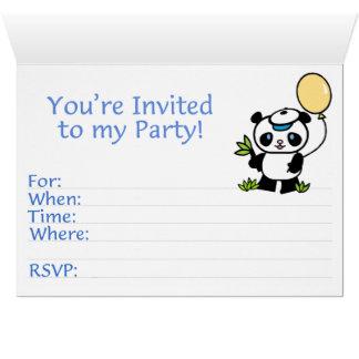 Panda Boy First Birthday Fill-in Invitations