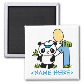 Panda Boy First Birthday Square Magnet