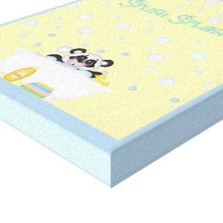Panda Bubble Bath Time Nursery Yellow Baby Blue Stretched Canvas Prints