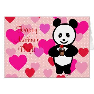 Panda Cartoon and Cupcake Mom Greeting Card