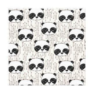 Panda - Champagne Black White / Andrea Lauren Stretched Canvas Print