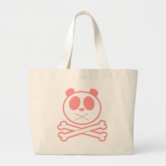 Panda Cross Bone - Pink Large Tote Bag