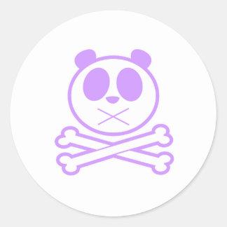 Panda Cross Bone - Purple Round Stickers