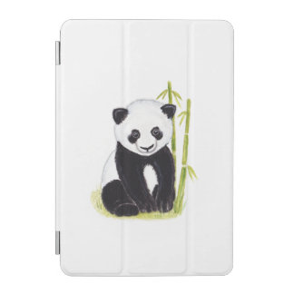 Panda cub and bamboo tree watercolor paintings iPad mini cover