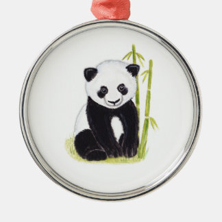 Panda cub and bamboo tree watercolor paintings Silver-Colored round decoration