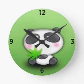 Panda Cub Fun Round Clock