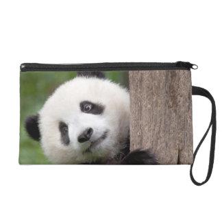 Panda cub painting wristlet clutches