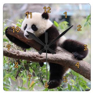 Panda Cub Square Wall Clock