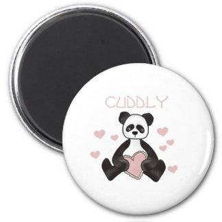 Panda Cuddly Valentines 6 Cm Round Magnet