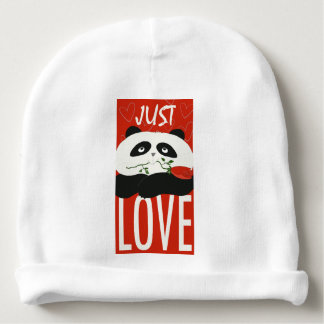 Panda Cute Cartoon Flower Red Love Funny Romantic Baby Beanie