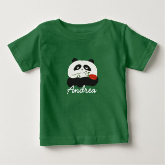 Panda Cute Cartoon Flower Rose Baby T-Shirt