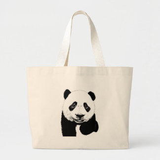 Panda drawing large tote bag