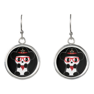 Panda Earrings - Cowboy Panda Bear Jewelry. Leon