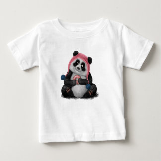 Panda eating a donut baby T-Shirt
