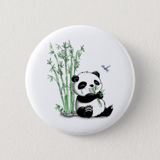Panda Eating Bamboo 6 Cm Round Badge