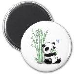 Panda Eating Bamboo 6 Cm Round Magnet