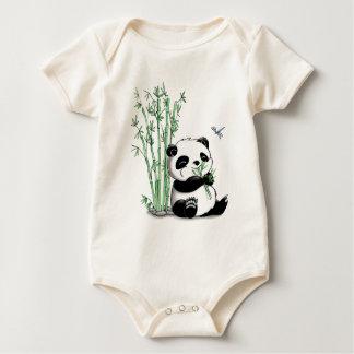 Panda Eating Bamboo Baby Bodysuit