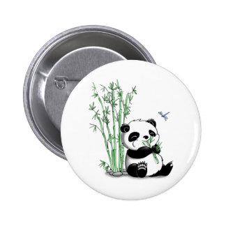 Panda Eating Bamboo 6 Cm Round Badge