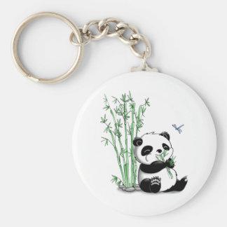 Panda Eating Bamboo Basic Round Button Key Ring