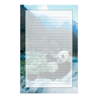 Panda eating bamboo by river bank, Wolong, 2 Personalized Stationery