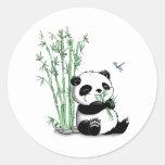 Panda Eating Bamboo Classic Round Sticker