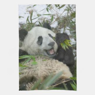 Panda eating bamboo on snow, Wolong, Sichuan, Tea Towel