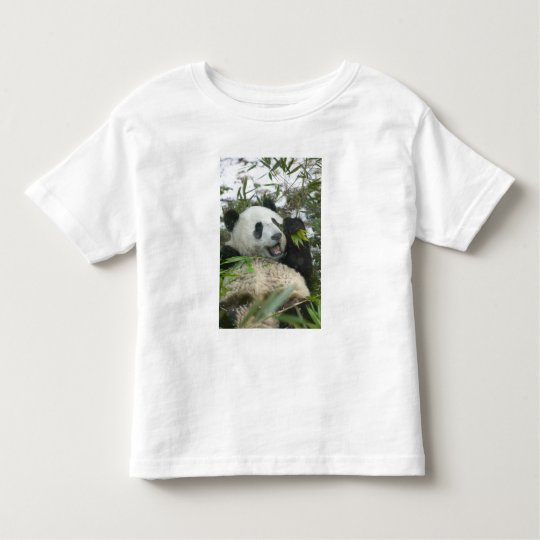 Panda eating bamboo on snow, Wolong, Sichuan, Toddler T-Shirt