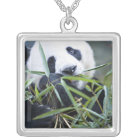 Panda eating bamboo shoots Alluropoda Silver Plated Necklace