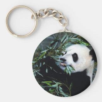 panda eating basic round button key ring
