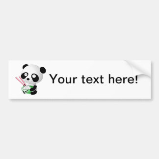 Panda eating rice cartoon bumper sticker