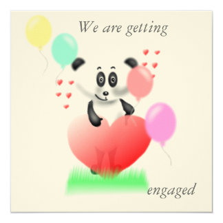 Panda Engagement Invitation Card 13 Cm X 13 Cm Square Invitation Card