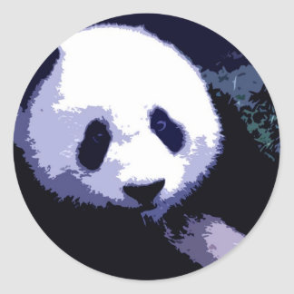 Panda Face Pop Art Classic Round Sticker