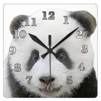 Panda Face Square Wall Clock