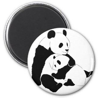 Panda Family 6 Cm Round Magnet