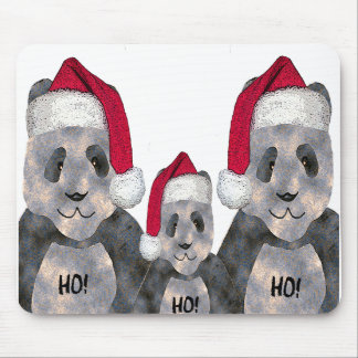 Panda Family Christmas Mouse Pad