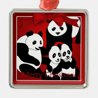 Panda Family of  Four Christmas Premium Ornament