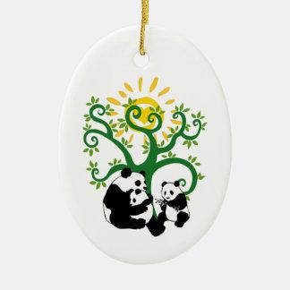 Panda Family Tree Ceramic Oval Decoration