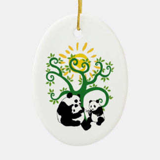 Panda Family Tree Christmas Ornament