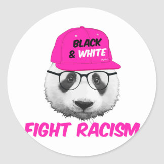 PANDA FIGHT RACISM CLASSIC ROUND STICKER