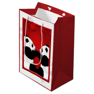 Panda Friends Christmas Med GB Medium Gift Bag