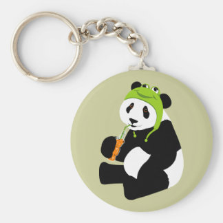 Panda Frog Hat Basic Round Button Key Ring