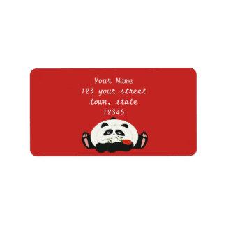 Panda Funny Romantic Cartoon Red Charming Cute Address Label