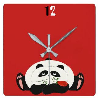 Panda Funny Romantic Cartoon Red Charming Cute Square Wall Clock