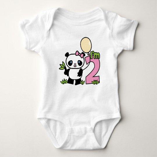 Panda Girl 2nd Birthday Baby Bodysuit
